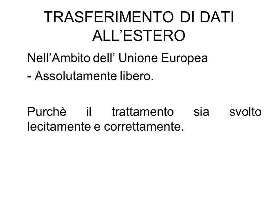 TRASFERIMENTO DI DATI ALLESTERO NellAmbito dell Unione Europea - Assolutamente libero.