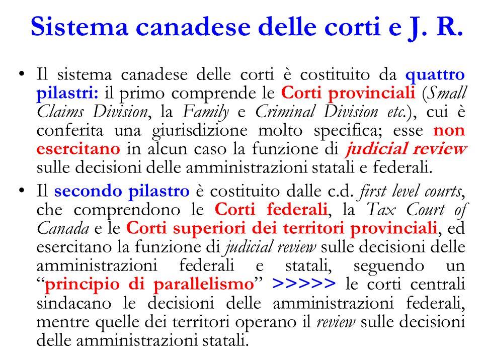 Sistema canadese delle corti e J. R. Il sistema canadese delle corti è costituito da quattro pilastri: il primo comprende le Corti provinciali (Small