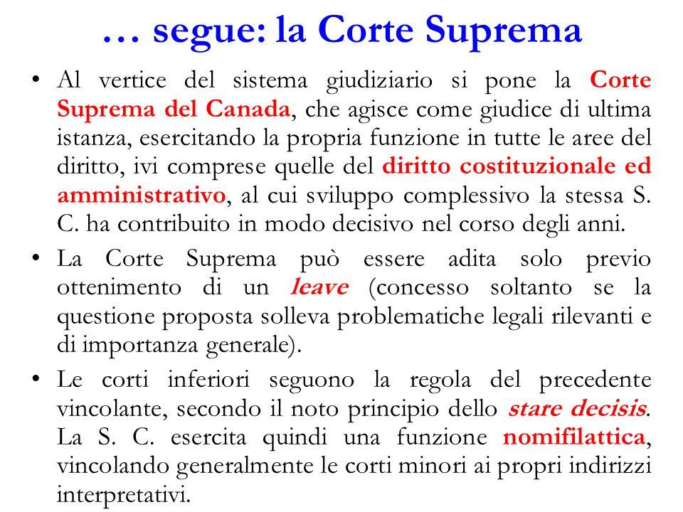 … segue: la Corte Suprema Al vertice del sistema giudiziario si pone la Corte Suprema del Canada, che agisce come giudice di ultima istanza, esercitan