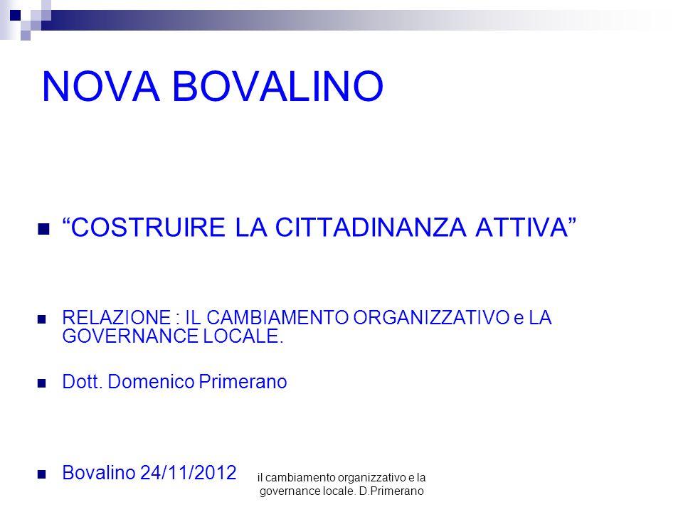 il cambiamento organizzativo e la governance locale. D.Primerano NOVA BOVALINO COSTRUIRE LA CITTADINANZA ATTIVA RELAZIONE : IL CAMBIAMENTO ORGANIZZATI