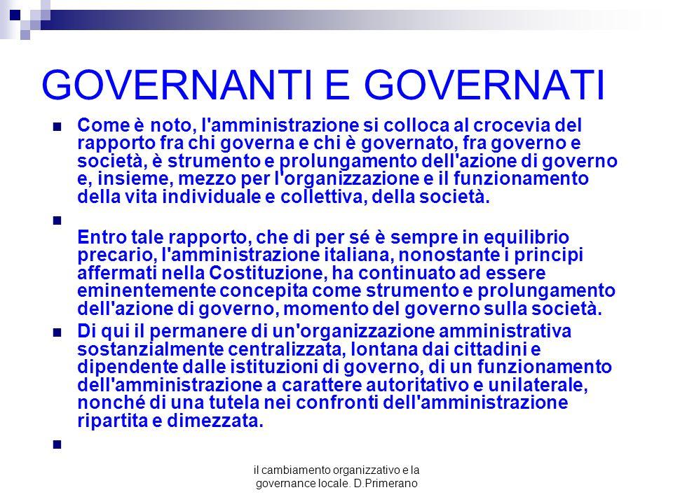 il cambiamento organizzativo e la governance locale. D.Primerano GOVERNANTI E GOVERNATI Come è noto, l'amministrazione si colloca al crocevia del rapp