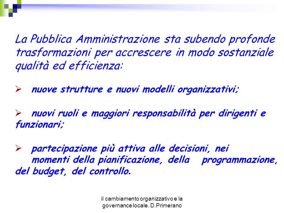 il cambiamento organizzativo e la governance locale. D.Primerano La Pubblica Amministrazione sta subendo profonde trasformazioni per accrescere in mod