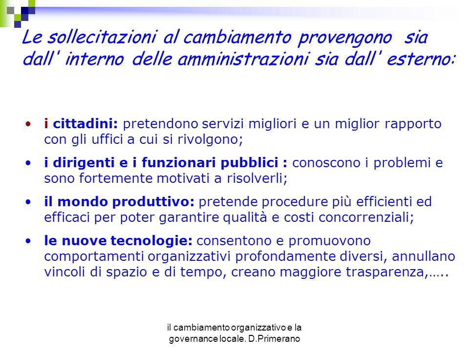 il cambiamento organizzativo e la governance locale. D.Primerano i cittadini: pretendono servizi migliori e un miglior rapporto con gli uffici a cui s