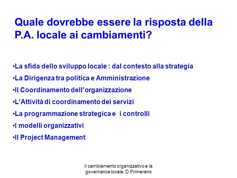 il cambiamento organizzativo e la governance locale. D.Primerano La sfida dello sviluppo locale : dal contesto alla strategia La Dirigenza tra politic