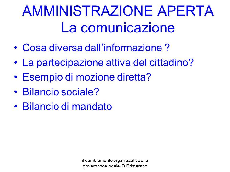 il cambiamento organizzativo e la governance locale. D.Primerano AMMINISTRAZIONE APERTA La comunicazione Cosa diversa dallinformazione ? La partecipaz