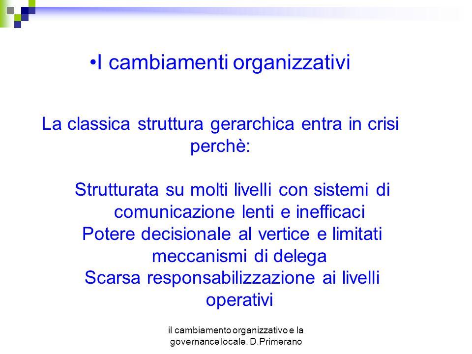 il cambiamento organizzativo e la governance locale. D.Primerano I cambiamenti organizzativi La classica struttura gerarchica entra in crisi perchè: S