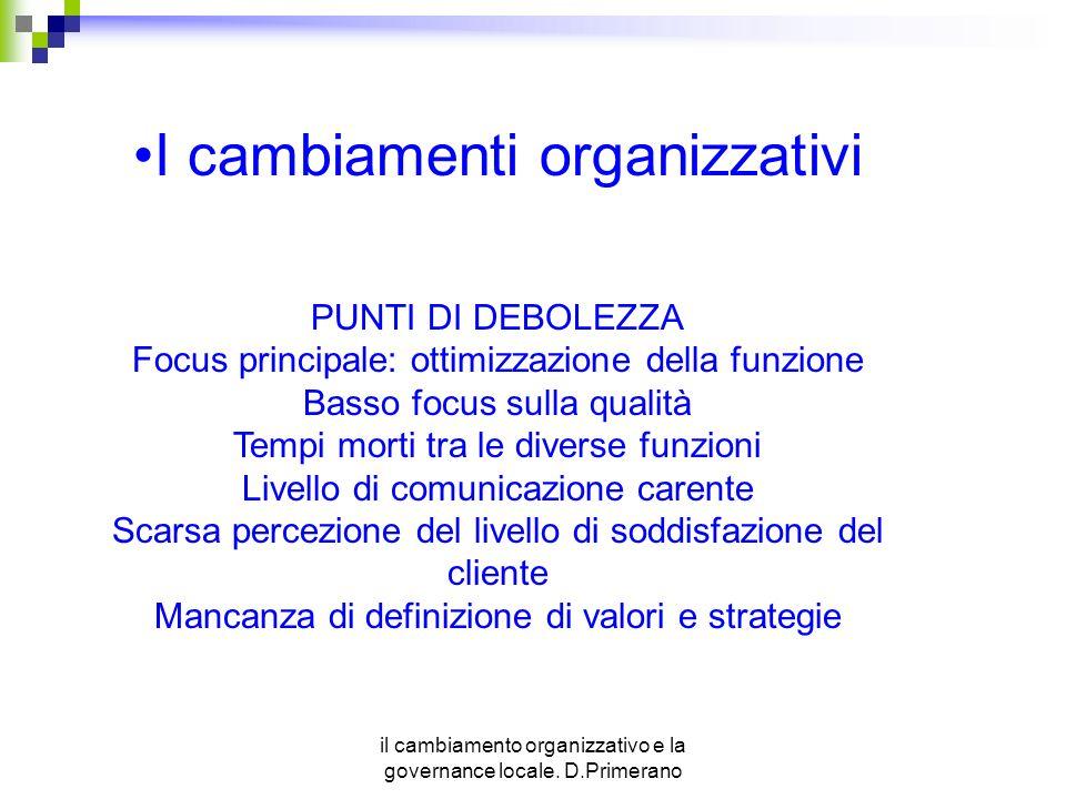 il cambiamento organizzativo e la governance locale. D.Primerano I cambiamenti organizzativi PUNTI DI DEBOLEZZA Focus principale: ottimizzazione della