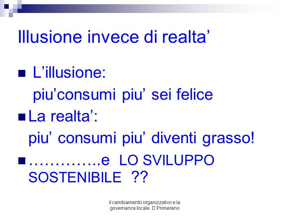 il cambiamento organizzativo e la governance locale. D.Primerano Illusione invece di realta Lillusione: piuconsumi piu sei felice La realta: piu consu