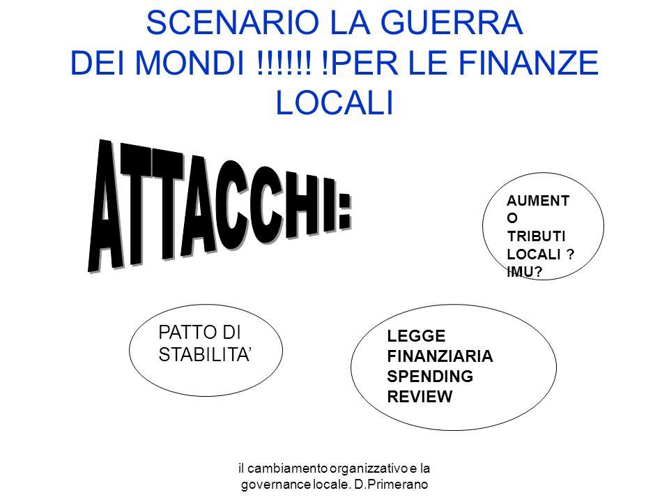 il cambiamento organizzativo e la governance locale. D.Primerano SCENARIO LA GUERRA DEI MONDI !!!!!! !PER LE FINANZE LOCALI PATTO DI STABILITA LEGGE F