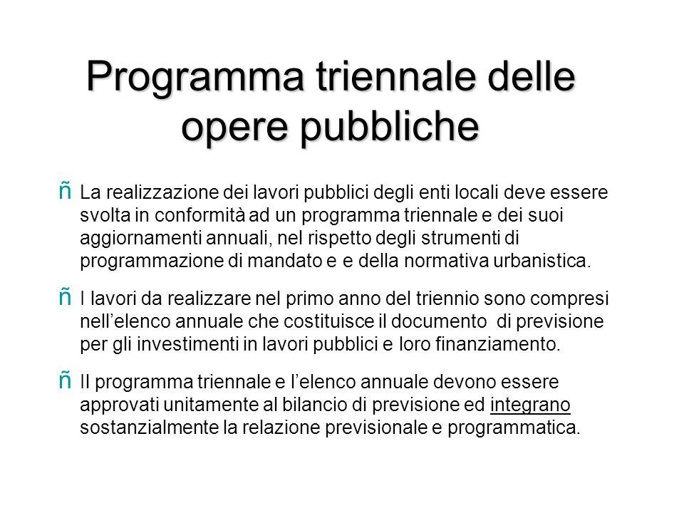 Programma triennale delle opere pubbliche ñ La realizzazione dei lavori pubblici degli enti locali deve essere svolta in conformità ad un programma tr