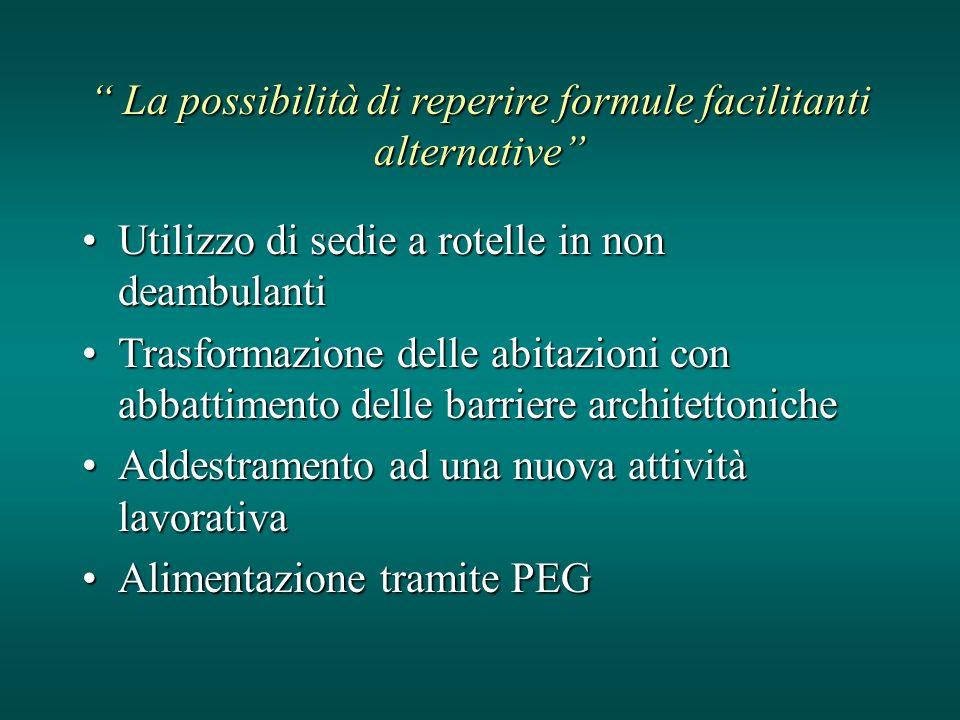 La possibilità di reperire formule facilitanti alternative La possibilità di reperire formule facilitanti alternative Utilizzo di sedie a rotelle in n