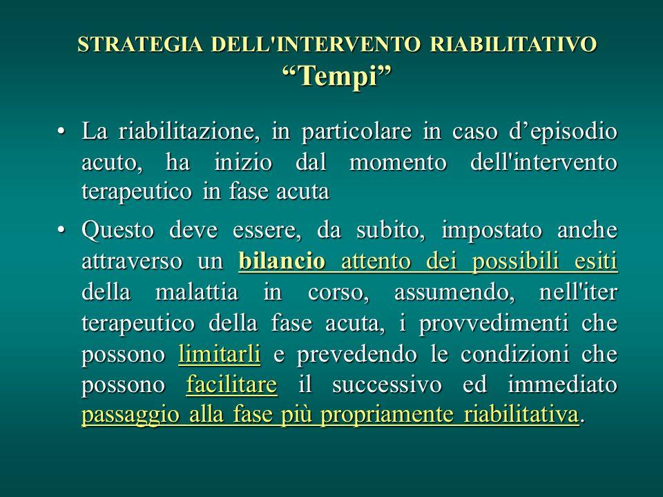 STRATEGIA DELL'INTERVENTO RIABILITATIVO Tempi La riabilitazione, in particolare in caso depisodio acuto, ha inizio dal momento dell'intervento terapeu