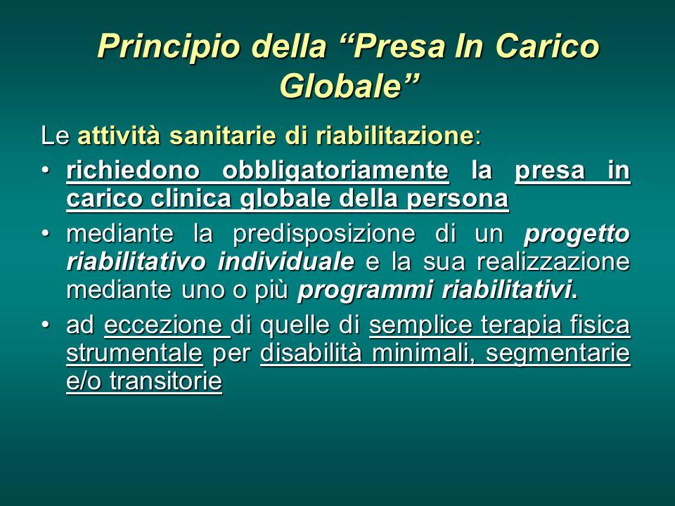 Principio della Presa In Carico Globale Le attività sanitarie di riabilitazione: richiedono obbligatoriamente la presa in carico clinica globale della