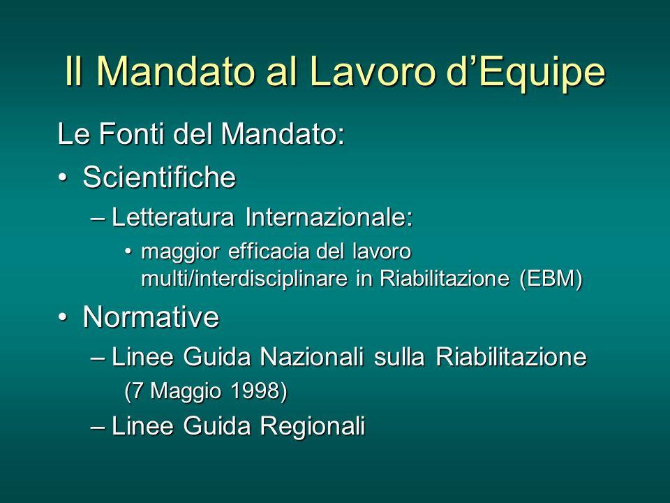 Il Mandato al Lavoro dEquipe Le Fonti del Mandato: ScientificheScientifiche –Letteratura Internazionale: maggior efficacia del lavoro multi/interdisci