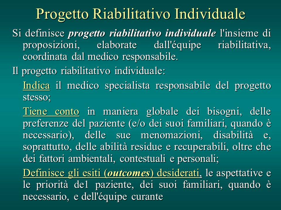 Progetto Riabilitativo Individuale Si definisce progetto riabilitativo individuale l'insieme di proposizioni, elaborate dall'équipe riabilitativa, coo