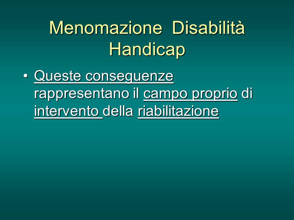Menomazione Disabilità Handicap Queste conseguenze rappresentano il campo proprio di intervento della riabilitazioneQueste conseguenze rappresentano i