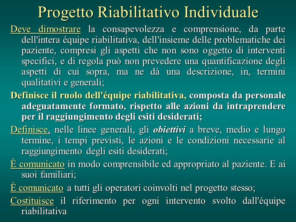 Progetto Riabilitativo Individuale Deve dimostrare la consapevolezza e comprensione, da parte dell'intera équipe riabilitativa, dell'insieme delle pro