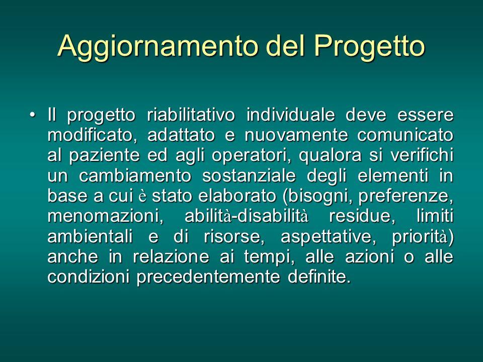 Aggiornamento del Progetto Il progetto riabilitativo individuale deve essere modificato, adattato e nuovamente comunicato al paziente ed agli operator
