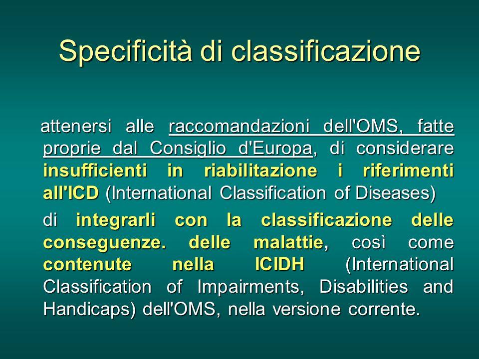 Specificità di classificazione attenersi alle raccomandazioni dell'OMS, fatte proprie dal Consiglio d'Europa, di considerare insufficienti in riabilit