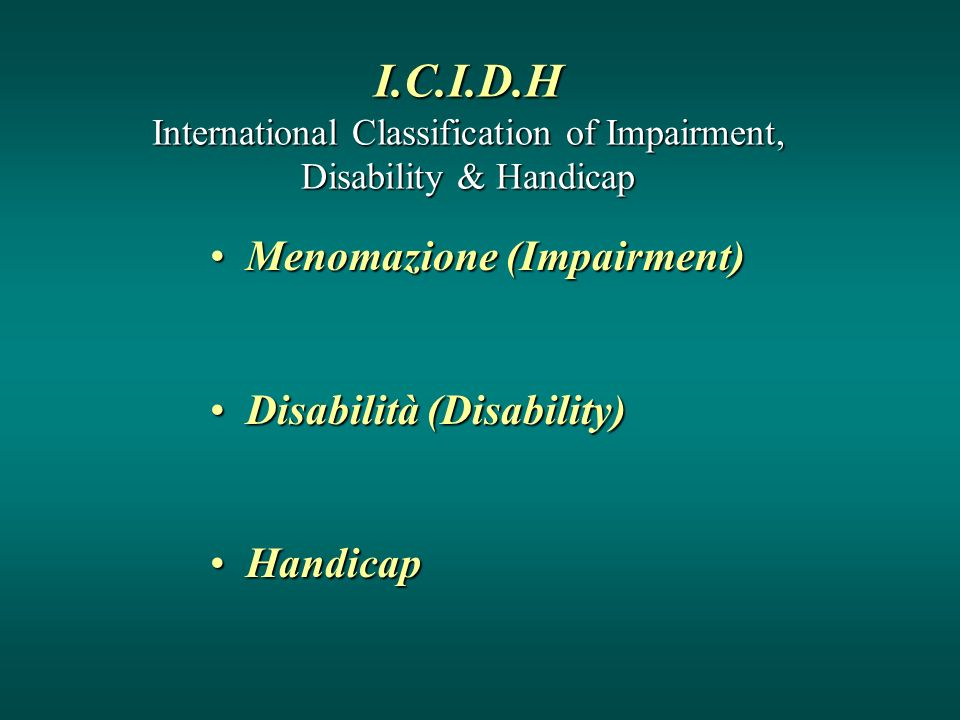 I.C.I.D.H International Classification of Impairment, Disability & Handicap Menomazione (Impairment)Menomazione (Impairment) Disabilità (Disability)Di