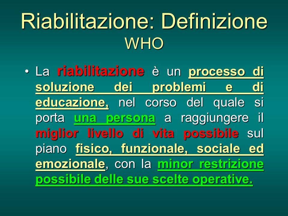 Riabilitazione: Definizione WHO La riabilitazione è un processo di soluzione dei problemi e di educazione, nel corso del quale si porta una persona a