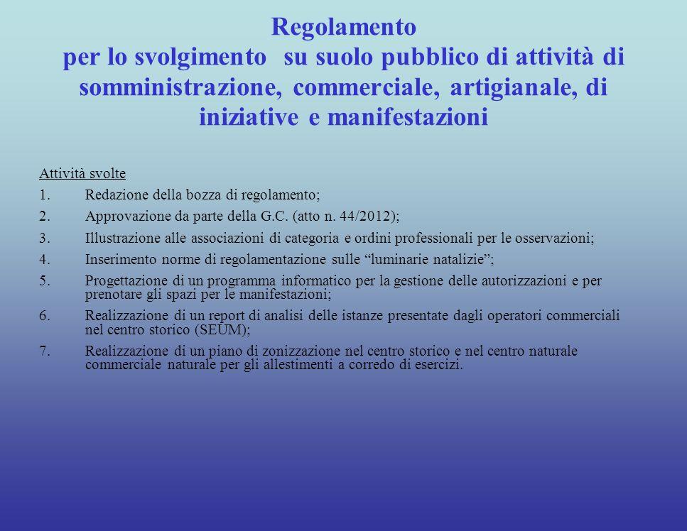 I Regolamenti RegolamentiStato di attuazione 1. Regolamento per gli animali1. Bozza in fase di conclusione (ultima riunione con le associazioni il gio
