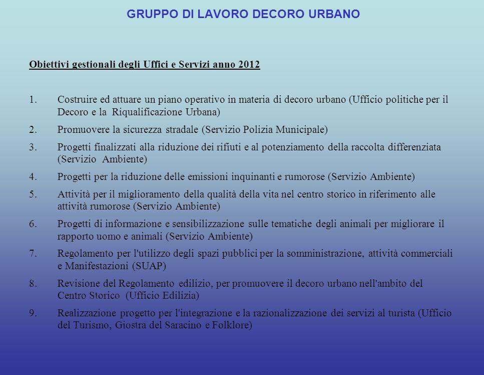 Costituzione del Gruppo di lavoro il 12/08/2011 (provv.