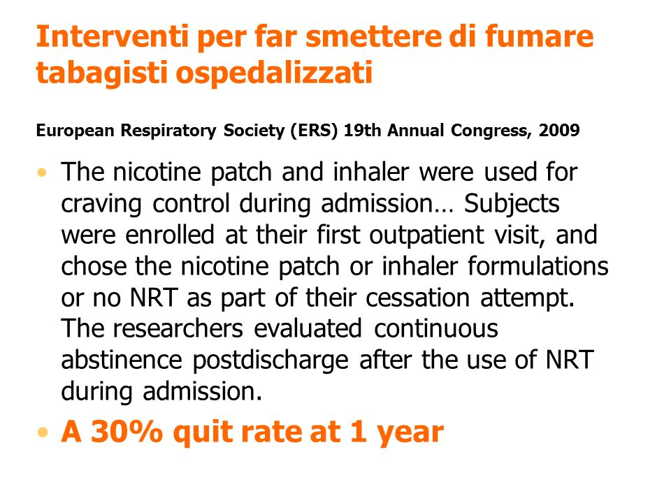 The nicotine patch and inhaler were used for craving control during admission… Subjects were enrolled at their first outpatient visit, and chose the n
