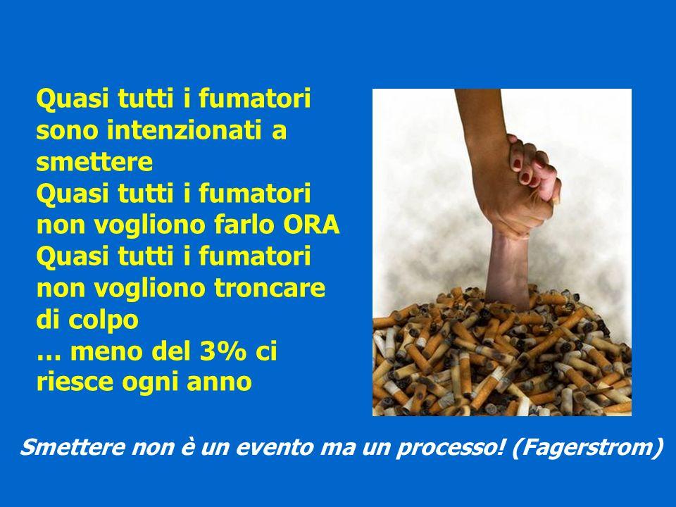 Quasi tutti i fumatori sono intenzionati a smettere Quasi tutti i fumatori non vogliono farlo ORA Quasi tutti i fumatori non vogliono troncare di colp