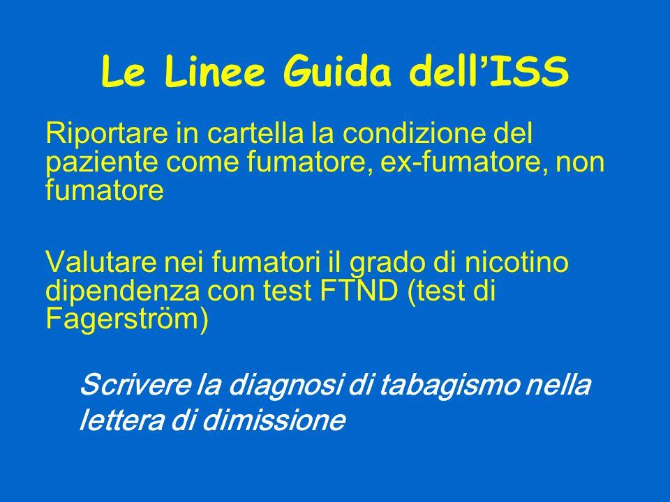 Le Linee Guida dell ISS Riportare in cartella la condizione del paziente come fumatore, ex-fumatore, non fumatore Valutare nei fumatori il grado di ni