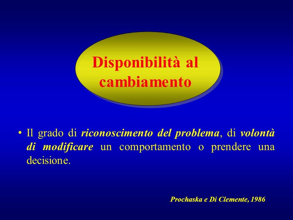 Disponibilità al cambiamento Il grado di riconoscimento del problema, di volontà di modificare un comportamento o prendere una decisione. Prochaska e