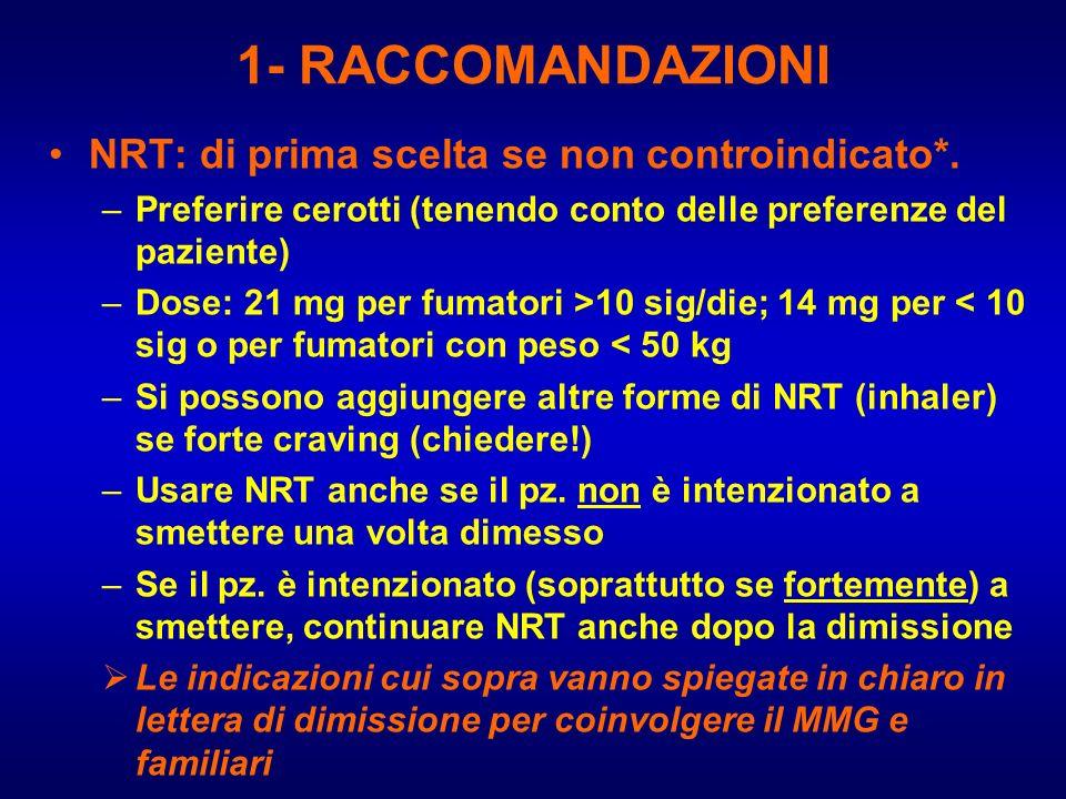 1- RACCOMANDAZIONI NRT: di prima scelta se non controindicato*. –Preferire cerotti (tenendo conto delle preferenze del paziente) –Dose: 21 mg per fuma