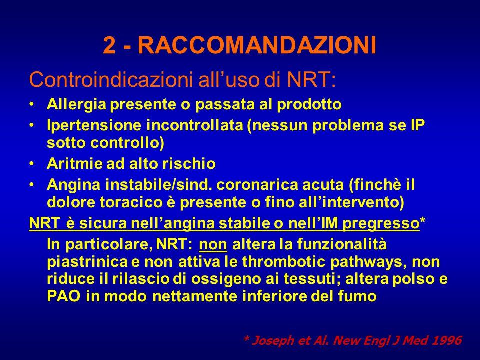 2 - RACCOMANDAZIONI Controindicazioni alluso di NRT: Allergia presente o passata al prodotto Ipertensione incontrollata (nessun problema se IP sotto c