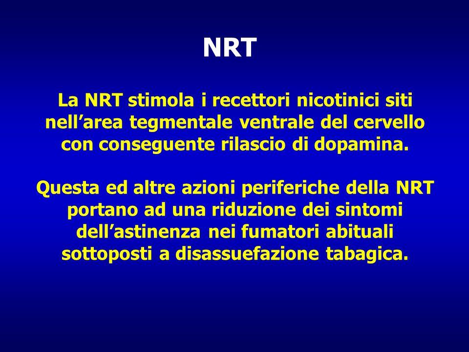 La NRT stimola i recettori nicotinici siti nellarea tegmentale ventrale del cervello con conseguente rilascio di dopamina. Questa ed altre azioni peri