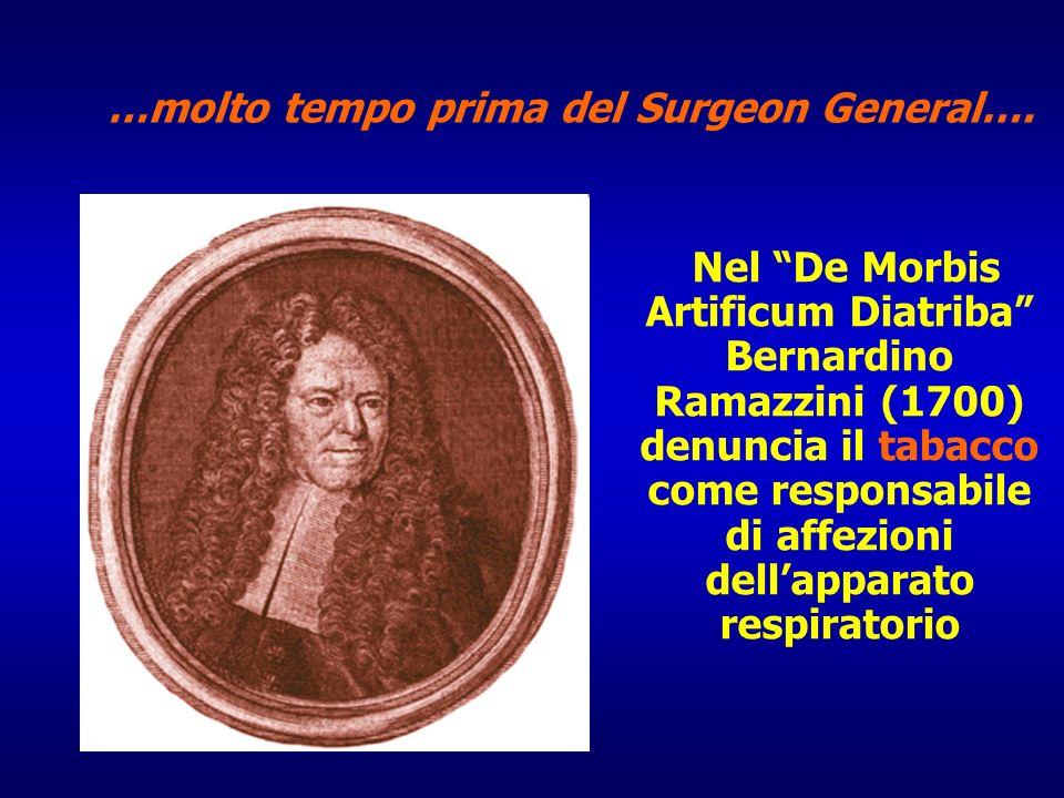 Nel De Morbis Artificum Diatriba Bernardino Ramazzini (1700) denuncia il tabacco come responsabile di affezioni dellapparato respiratorio …molto tempo