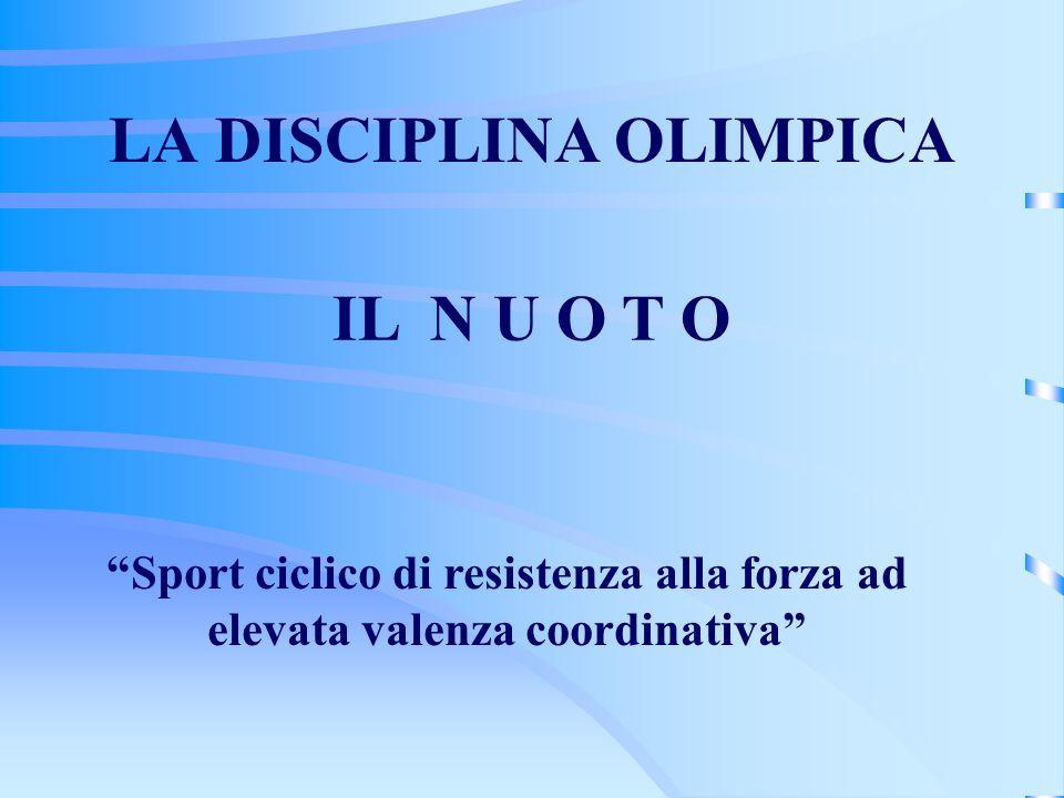 LA DISCIPLINA OLIMPICA Sport ciclico di resistenza alla forza ad elevata valenza coordinativa IL N U O T O
