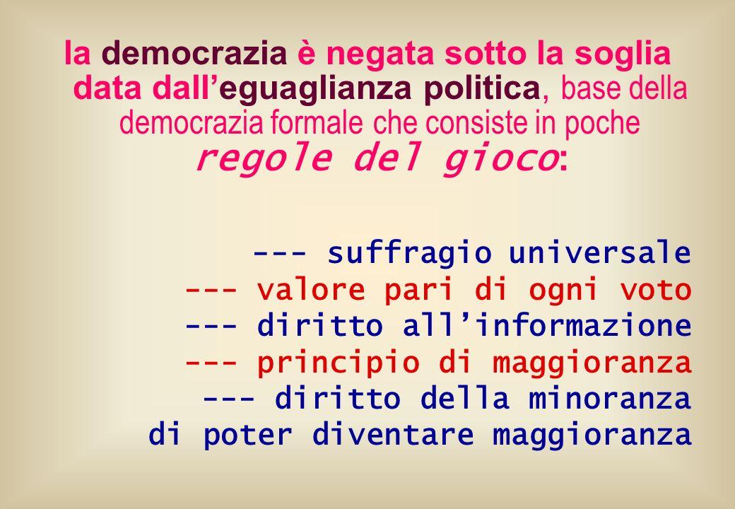 la democrazia è negata sotto la soglia data dalleguaglianza politica, base della democrazia formale che consiste in poche regole del gioco : --- suffr