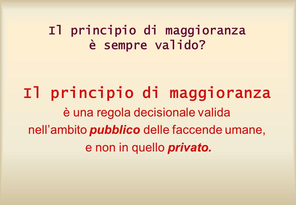 Il principio di maggioranza è sempre valido? Il principio di maggioranza è una regola decisionale valida nellambito pubblico delle faccende umane, e n
