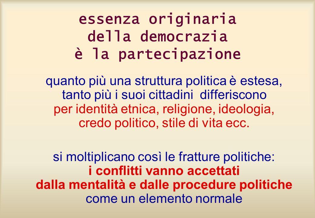 essenza originaria della democrazia è la partecipazione quanto più una struttura politica è estesa, tanto più i suoi cittadini differiscono per identi