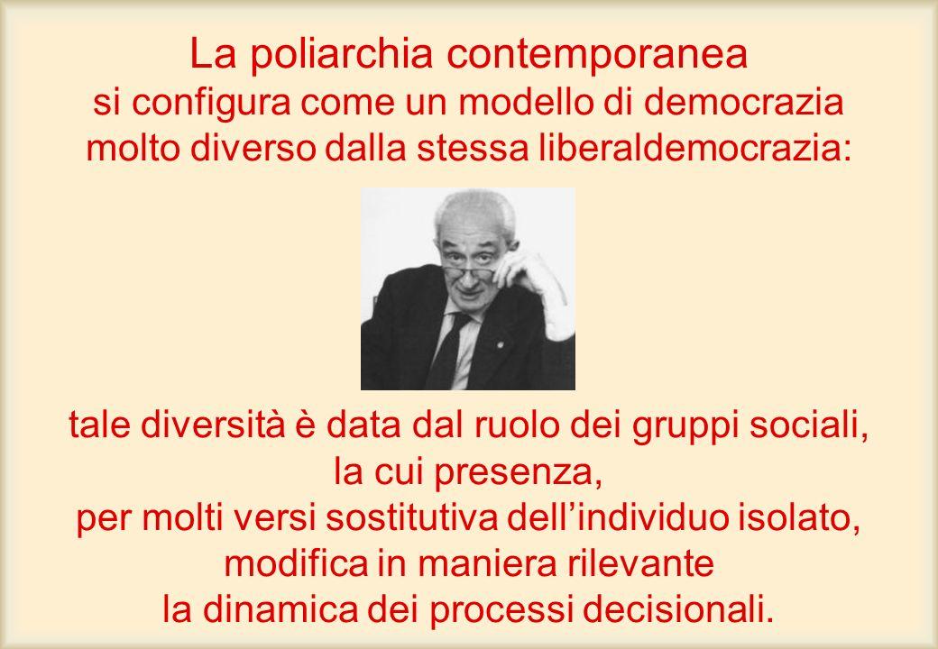 La poliarchia contemporanea si configura come un modello di democrazia molto diverso dalla stessa liberaldemocrazia: tale diversità è data dal ruolo d