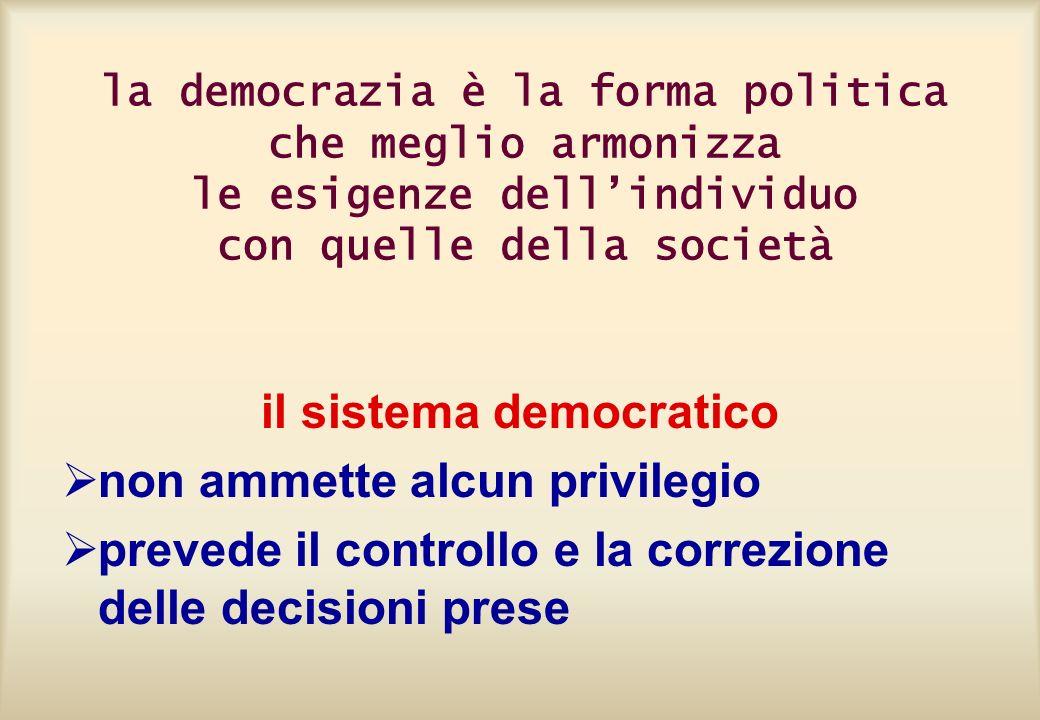 la democrazia è la forma politica che meglio armonizza le esigenze dellindividuo con quelle della società il sistema democratico non ammette alcun pri