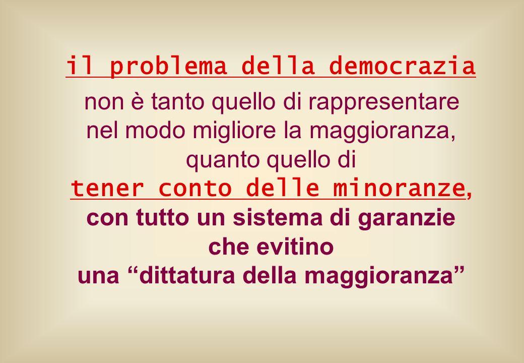 il problema della democrazia non è tanto quello di rappresentare nel modo migliore la maggioranza, quanto quello di tener conto delle minoranze, con t