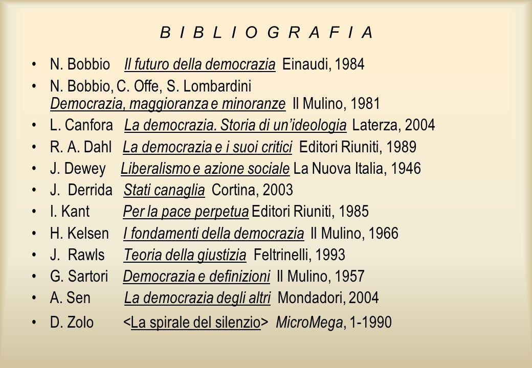B I B L I O G R A F I A N. Bobbio Il futuro della democrazia Einaudi, 1984 N. Bobbio, C. Offe, S. Lombardini Democrazia, maggioranza e minoranze Il Mu