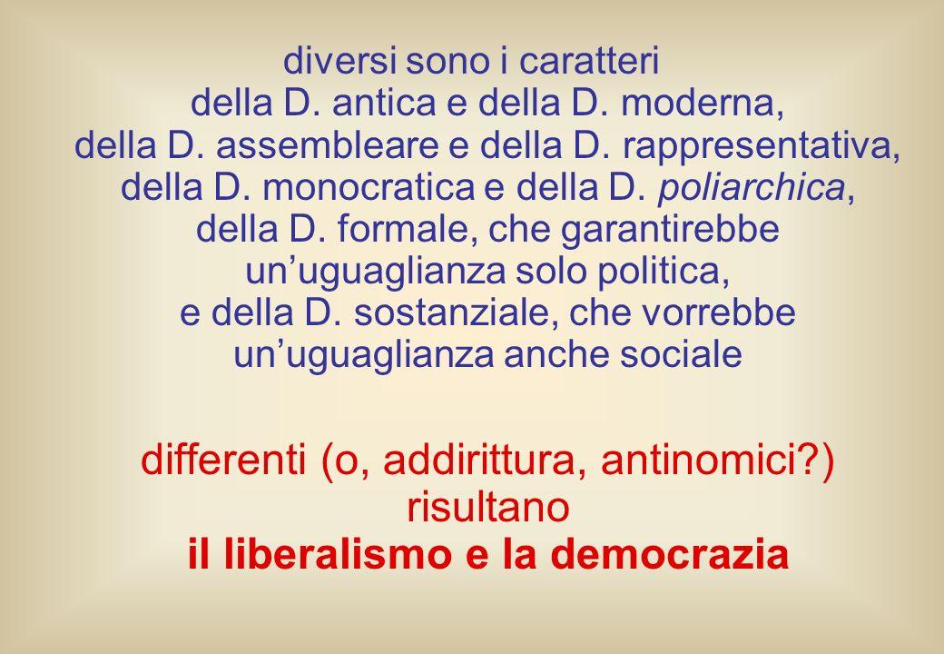 diversi sono i caratteri della D. antica e della D. moderna, della D. assembleare e della D. rappresentativa, della D. monocratica e della D. poliarch