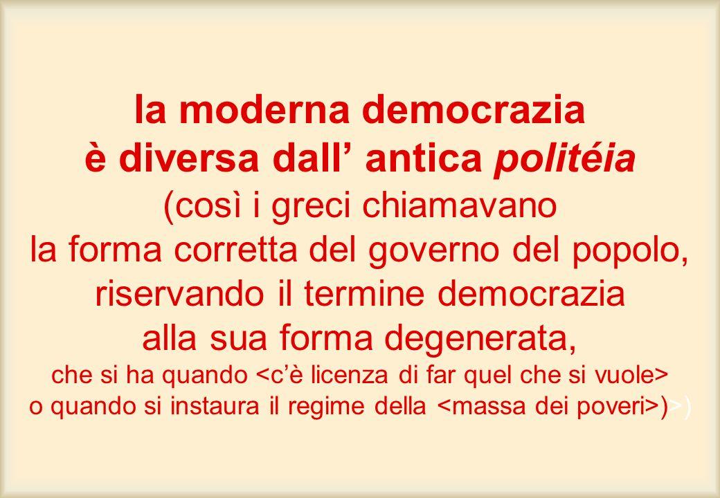 la moderna democrazia è diversa dall antica politéia (così i greci chiamavano la forma corretta del governo del popolo, riservando il termine democraz