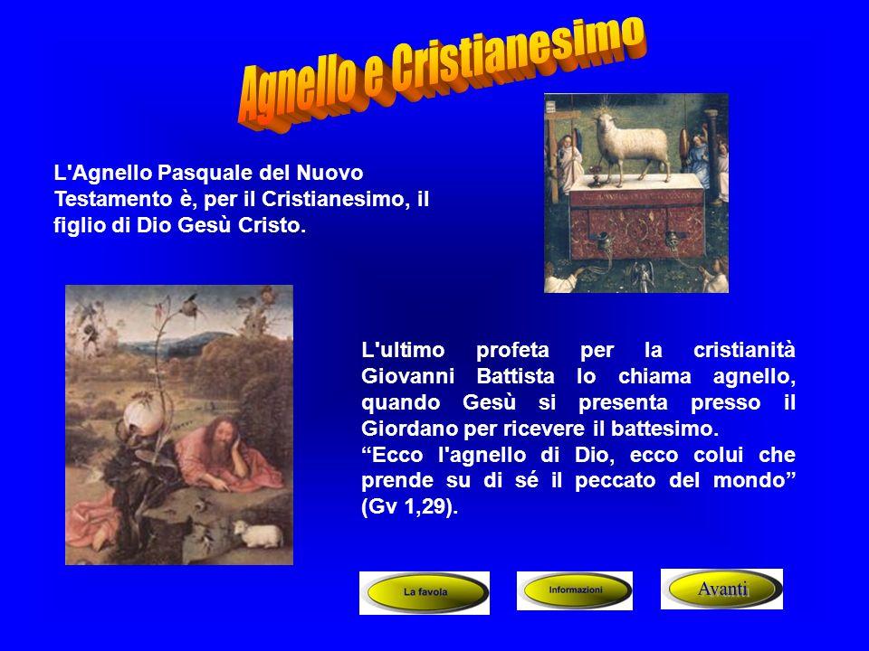 L'Agnello Pasquale del Nuovo Testamento è, per il Cristianesimo, il figlio di Dio Gesù Cristo. L'ultimo profeta per la cristianità Giovanni Battista l