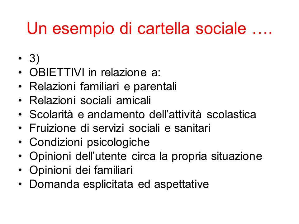 Un esempio di cartella sociale …. 3) OBIETTIVI in relazione a: Relazioni familiari e parentali Relazioni sociali amicali Scolarità e andamento dellatt