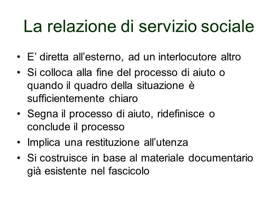 La relazione di servizio sociale E diretta allesterno, ad un interlocutore altro Si colloca alla fine del processo di aiuto o quando il quadro della s