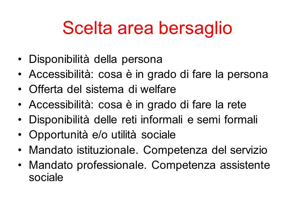 Scelta area bersaglio Disponibilità della persona Accessibilità: cosa è in grado di fare la persona Offerta del sistema di welfare Accessibilità: cosa