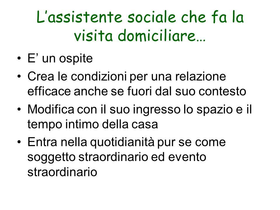 Lassistente sociale che fa la visita domiciliare… E un ospite Crea le condizioni per una relazione efficace anche se fuori dal suo contesto Modifica c